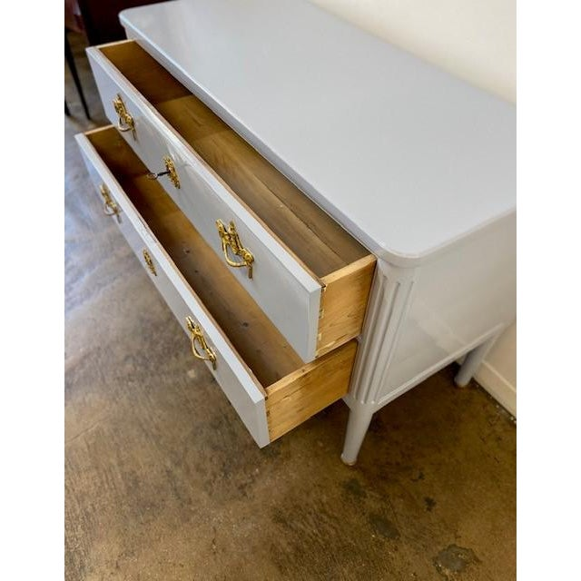 French Antique Lacquered Two Drawer Commode For Sale - Image 3 of 6