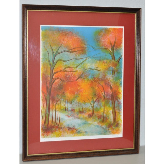 Fine art lithograph by listed French artist Victor Zarou (b.1930) Bright and colorful abstract forested landscape. Pencil...