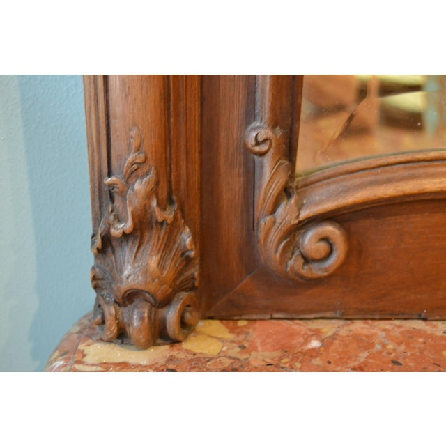 Late 19th Century Antique French Walnut Mirror For Sale - Image 5 of 6