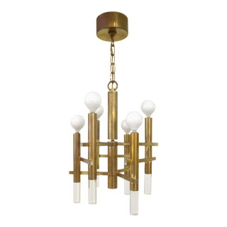 Gaetano Sciolari Brass and Lucite Chandelier For Sale