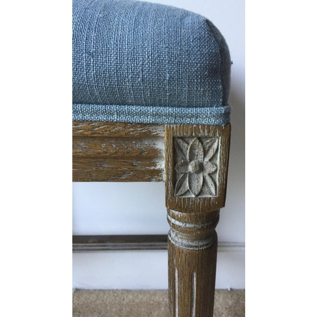 2 Carved French Linen Upholstered Stools For Sale In New York - Image 6 of 10