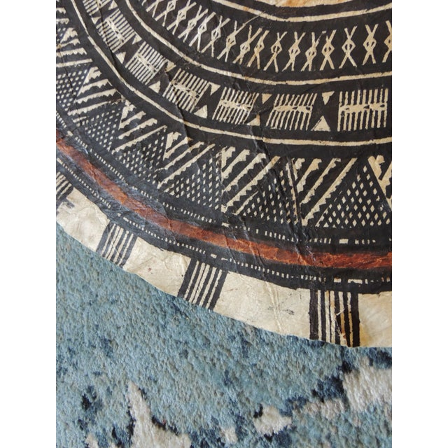 Vintage Large African Tribal Round Decorative Painted Paper Art For Sale - Image 4 of 6