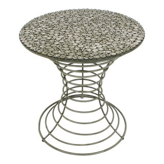 Custom Studio Center Table With Steel Rounds Top and Open Hourglass Base For Sale