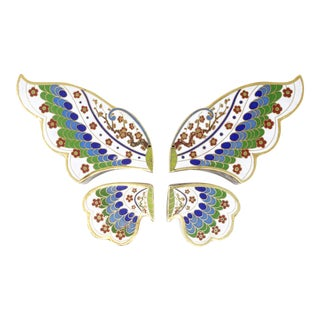 Vintage 4-Piece Cloisonné Butterfly Boxes - Set of 4 For Sale