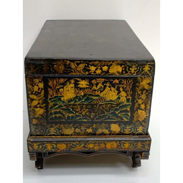 Chinese Export Lacquer Box & Stand, Circa 1820 For Sale - Image 10 of 13