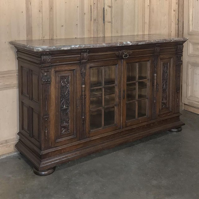 19th Century French Louis XIV Marble Top Display Buffet For Sale - Image 4 of 13