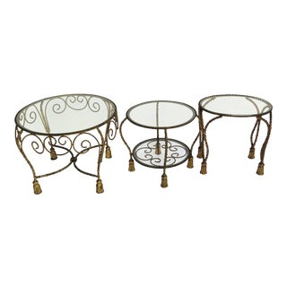1950s Vintage Italian Hollywood Regency Style Occasional Tables - Set of 3 For Sale