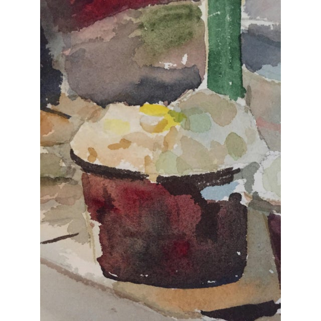 Thelma Moody Gouache Farmer's Market Painting For Sale - Image 4 of 7