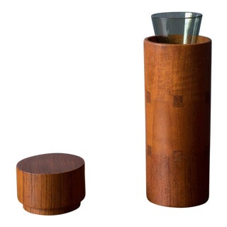 Vintage Sowe Konst Vase and Teak Cylinder Case For Sale