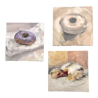 Gallery Wall Collection 3 Contemporary Impressionist Donut Paintings For Sale