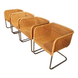 Four Harvey Probber Chrome & Wicker Fabricius & Kastholm Cantilever Chairs For Sale