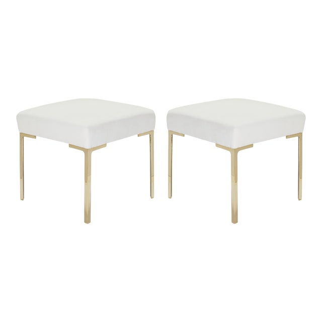Astor Petite Brass Ottomans in Snow Velvet by Montage - Pair For Sale