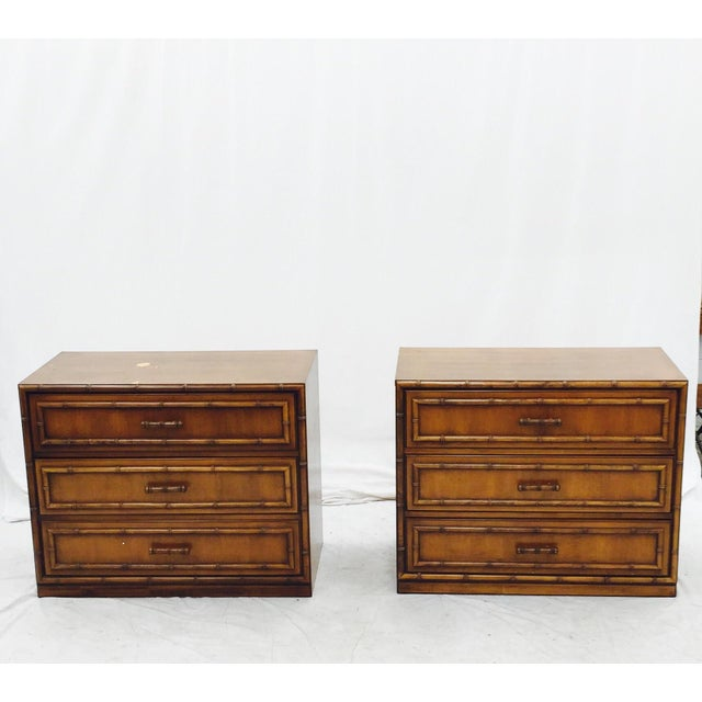 Vintage Mid-Century Bamboo Bedside Chests - A Pair - Image 3 of 10