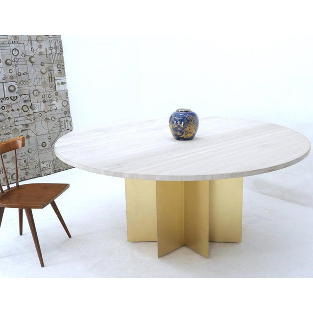"""72"""" Diameter 1"""" Travertine Marble-Top Round Dining Conference Table Star Base For Sale - Image 12 of 13"""
