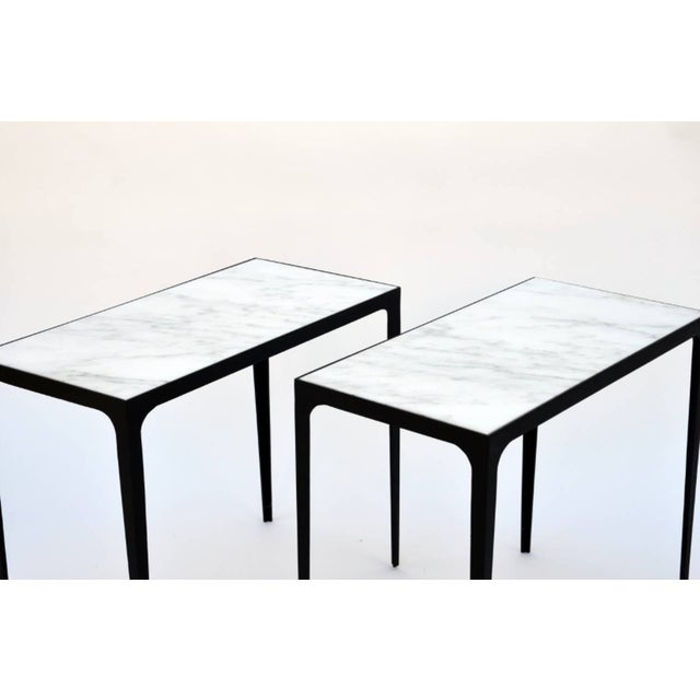 "Contemporary ""Esquisse'"" Iron and Honed Marble Side Tables - a Pair For Sale - Image 4 of 6"