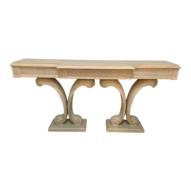 Hollywood Regency Fleur De Lis Double Pedestal Console Table For Sale