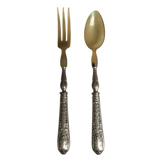 Plated Salad Utensils - A Pair For Sale
