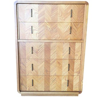 Lane Blonde Highboy Dresser, circa 1970 For Sale