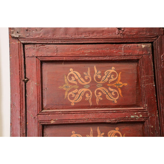19th Century Moroccan Antique Double Door With Hand Painted Moorish Designs For Sale - Image 11 of 13