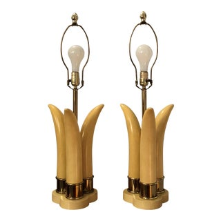 1970s Hollywood Regency Karl Springer Faux Tusk Lamps - a Pair