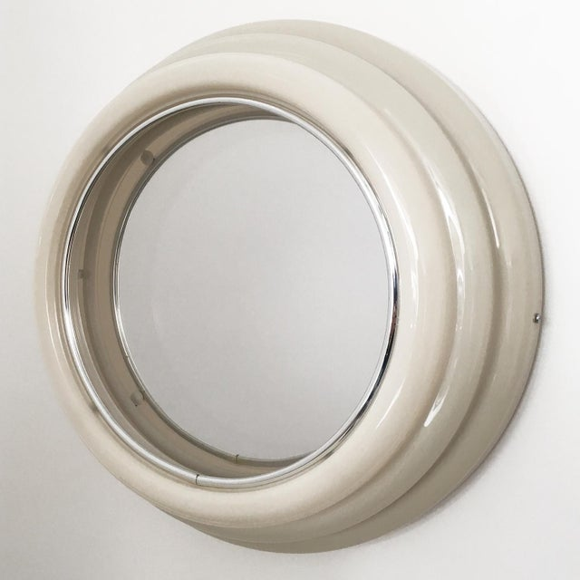 Sottsass Style Round Neon Wall Mirror & Light For Sale - Image 4 of 8