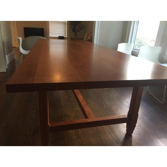 Contemporary Solid Cherry Dining Table With Antique-Style Trestle For Sale - Image 3 of 11