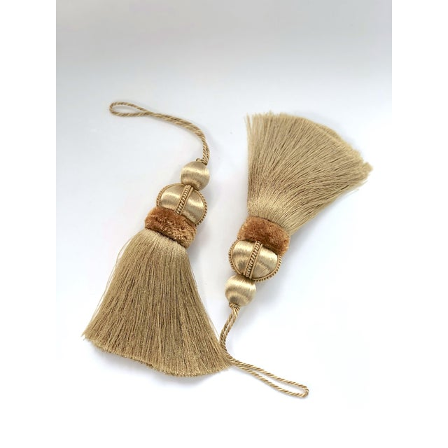 Contemporary Gold Key Tassels With Cut Velvet Ruche- a Pair For Sale - Image 3 of 11