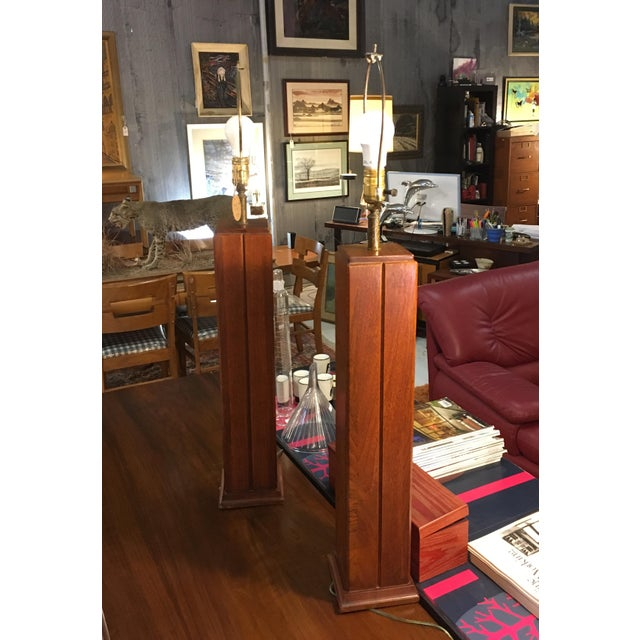 Mid-Century Walnut Table Lamps - a Pair For Sale - Image 4 of 5