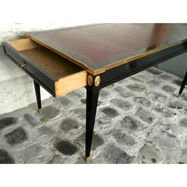 Maison Jansen Chicest Slender Desk With Side Drawers and Gold Bronze Adorn For Sale - Image 6 of 9