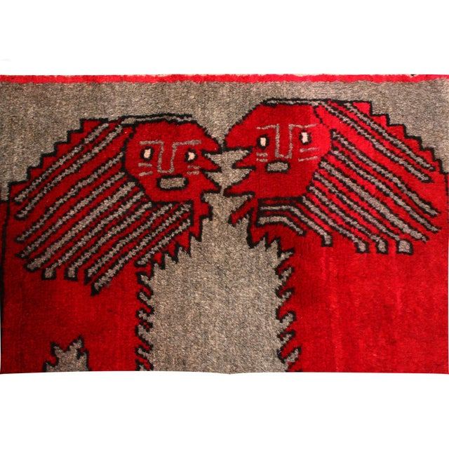 "Contemporary 1950's Vintage Gabbeh Lion Persian Rug-3'1'x5'9"" For Sale - Image 3 of 6"