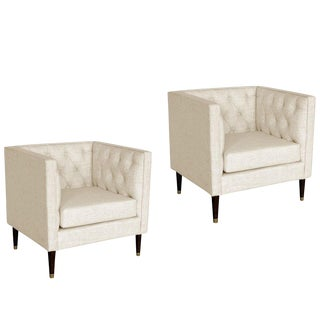 White Tufted Back Arm Chairs - a Pair