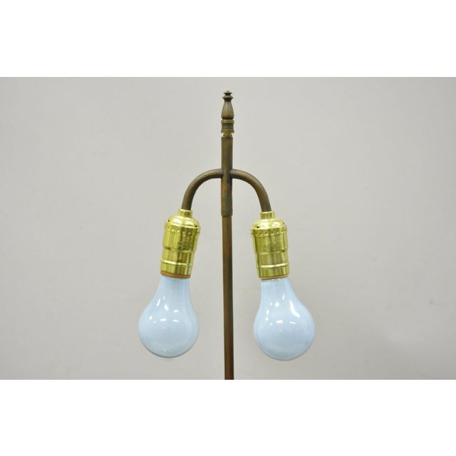 Antique Chinese Gilt Bronze & Rosewood Figural Double Light Table Lamp For Sale - Image 9 of 13
