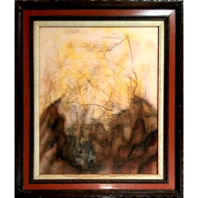 Mid Century Abstract Landscape Watercolor & Ink - Image 1 of 10