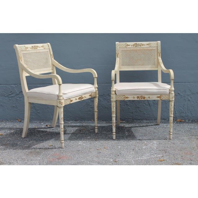 Vintage Mid Century Taffeta Faux Bamboo Caned Armchairs- A Pair For Sale - Image 4 of 13