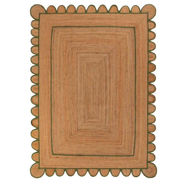 4'x6' Olive Green Scallop Jute Hand Made Rug For Sale - Image 10 of 10