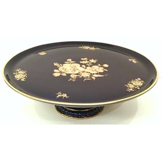 20th Century German Porcelain & 22-Karat Gold Footed Cake Platter By Bareuther Preview