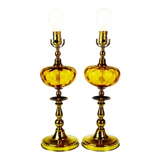 Mid Century Amber Bubble Glass Table Lamps - a Pair