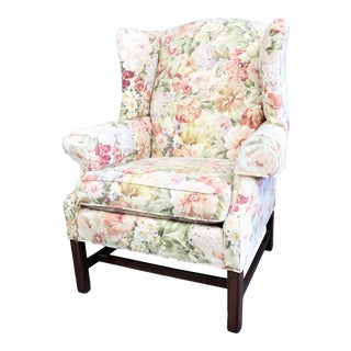 Ethan Allen Chippendale Style Floral Upholstered Wing Chair For Sale