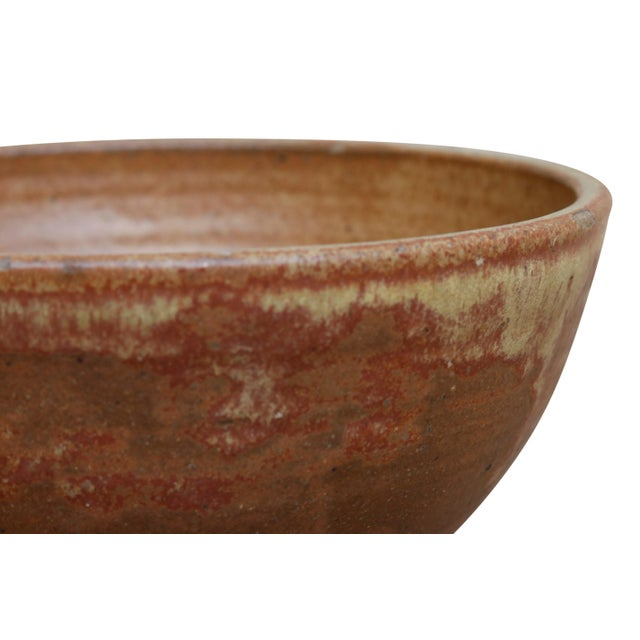 Boho Chic Simple Brown Stoneware Bowl For Sale - Image 3 of 6