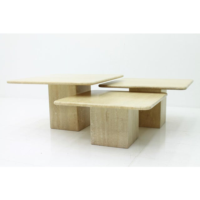 Stone Set of Three Italian Travertine Side Tables 1970s For Sale - Image 7 of 13