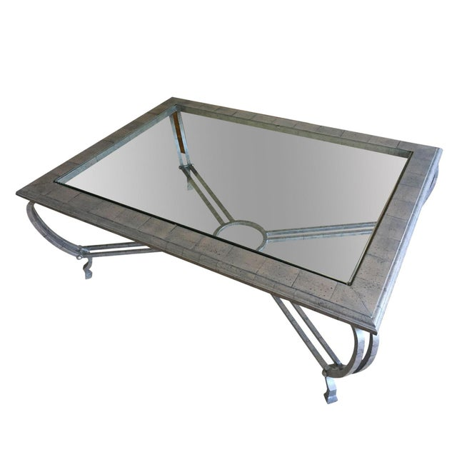 Metal Finish Glass Cocktail Table - Image 1 of 8