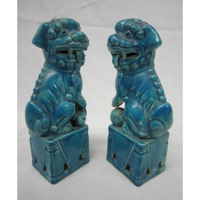 Japanese Turquoise Foo Dogs - A Pair - Image 4 of 7