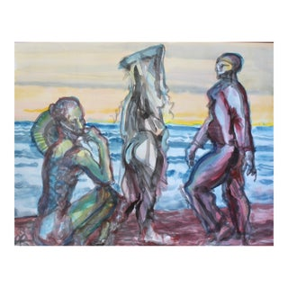 "Contemporary Figurative Blue, Red, Yellow Acrylic Wash ""Figures on a Beach"" by Peter Ruddick For Sale"