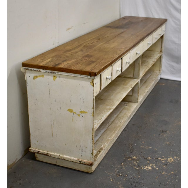 Massive Vintage Painted Pine and Oak Store Counter For Sale In Washington DC - Image 6 of 13