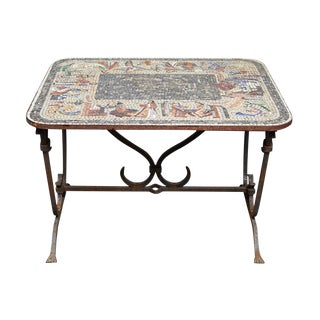 Early 20th Century Iron Table With Mosaic Stone Top From England For Sale