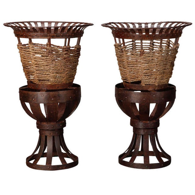 Pair 1930's French Iron & Woven Jute Jardinières Planters - Image 1 of 3