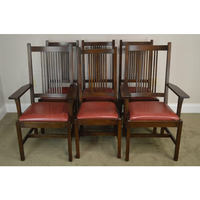 Arts & Crafts Stickley Mission Collection Oak Set 6 Spindle Dining Chairs For Sale - Image 3 of 13
