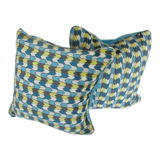 Custom Reversible Geometric Yellow & Turquoise Pillows - A Pair For Sale