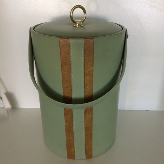 Georges Briard Padded Green and Wood Grain Vinyl Ice Bucket With Ice Tongs For Sale - Image 13 of 13