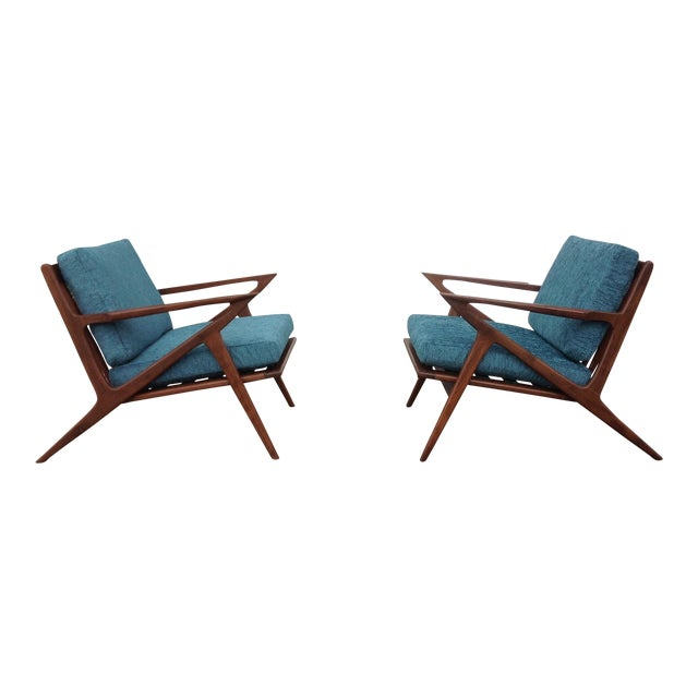 Mid Century Modern Style Z Lounge Chairs - Pair - Image 1 of 5